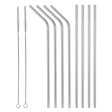 Aoocan set of 8 stainless steel metal straws extra long 10.5 inch, reusable drinking straws for 30oz/20oz tumblers, (4 Straight + 4 Bent + 2 cleaning brushes)