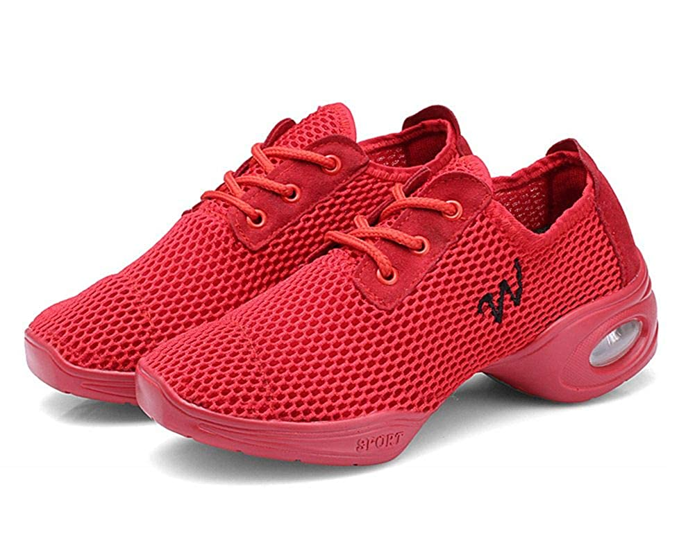 16  Red Women 10(US)=Label 42 COSDN Women's Fashion Breathable Ballroom Dance Sneakers Lightweight Jazz shoes