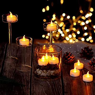 Flameless LED Tealight, Set of 12 Battery Operated LED Candle with Timer, Bright Yellow Flickering LED Candle, Long Lasting LED Tealight for Halloween,Wedding,Christmas,Table Dining,Home Decor: Home Improvement