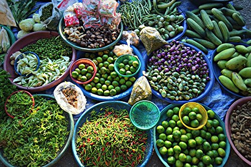 Home Comforts Canvas Print Market Vegetables Morning Thailand Fruit Tropical Stretched Canvas 32 x 24