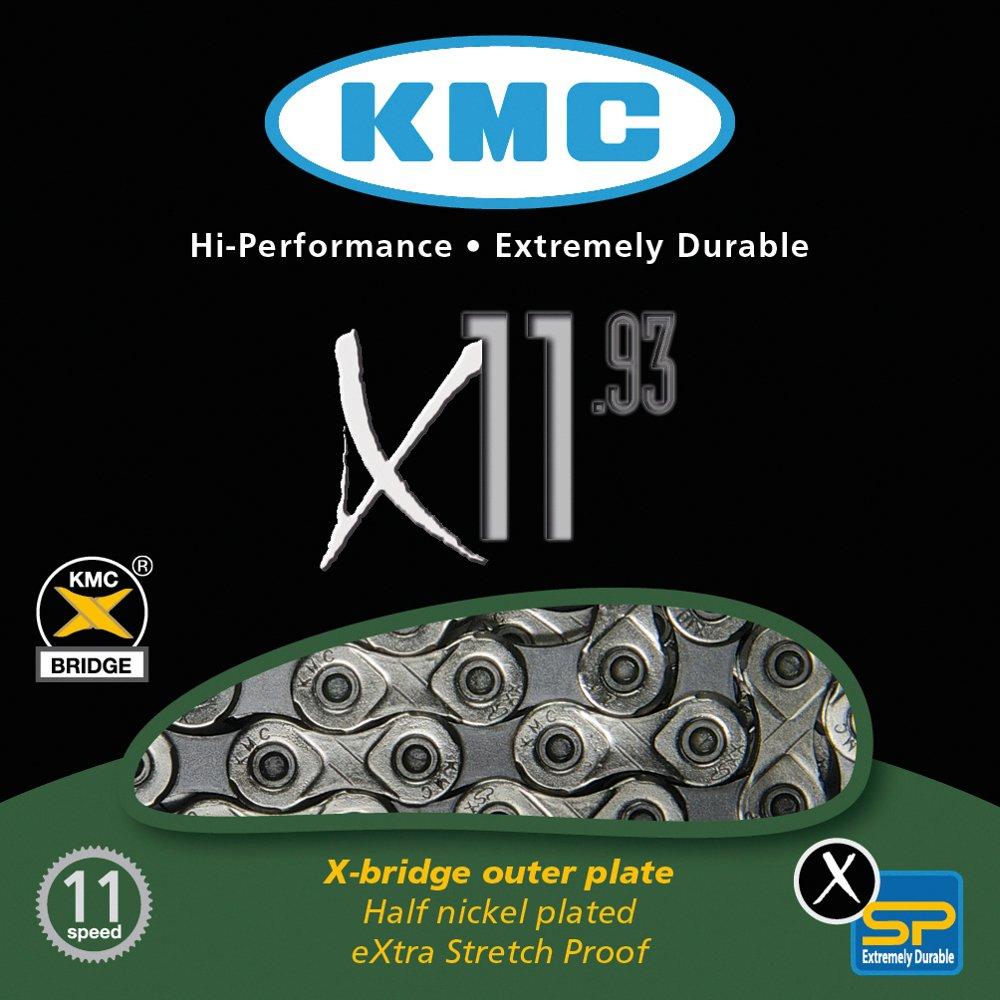 KMC Chain X-11-93 Cadena Estrecha, Unisex Adulto, Gris, 114 eslabones KMCX1193