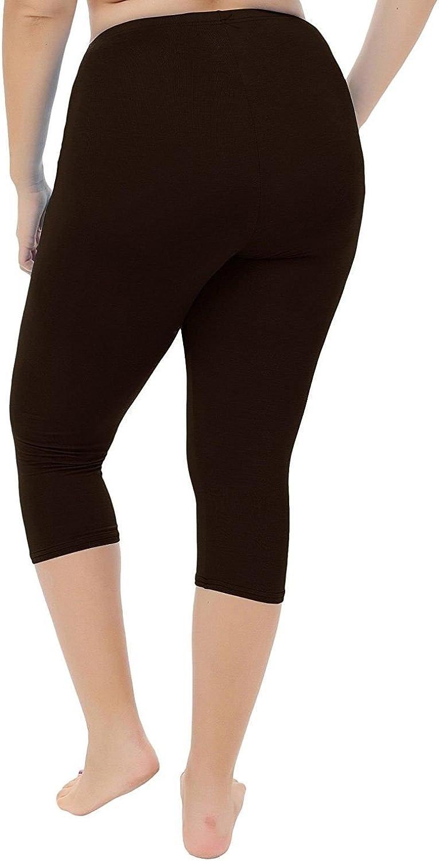Femmes 3//4 Jersey Uni Court Legging Femmes Extensibles Viscose Leggings Pantalon