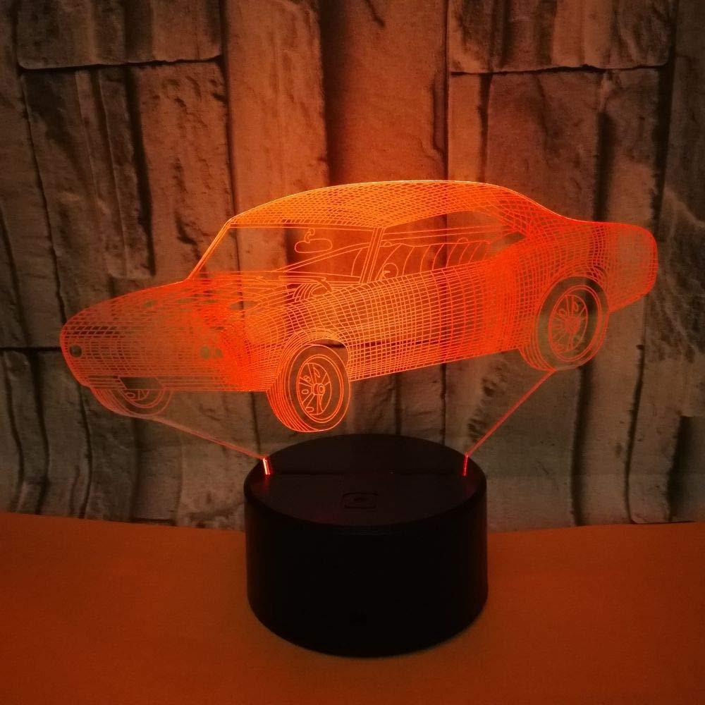 orangeww Auto buntes Licht der Nacht 3d///Reizendes Lampen-Weihnachtsgeschenk mit 7 Farb/änderungen f/ür/Babyraumlichter/// Note 7 Farben