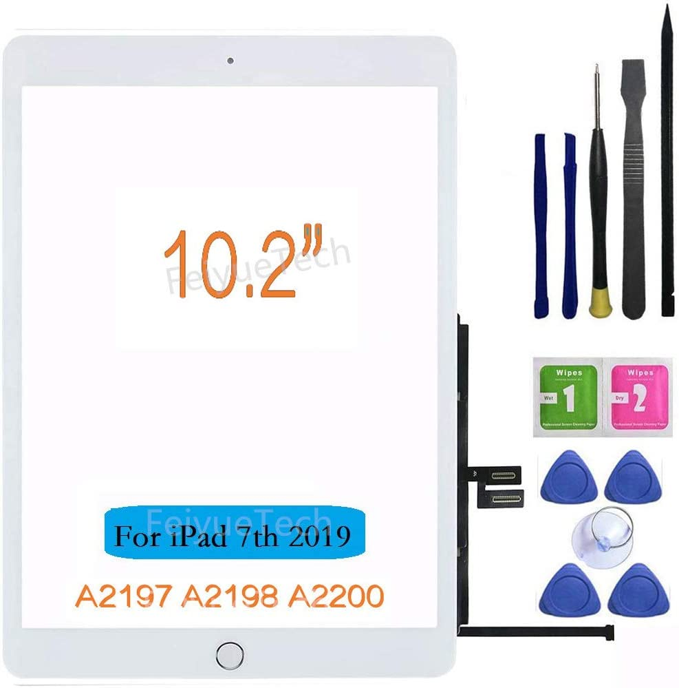 Tools kit Includes Home Button+Camera Holder+PreInstalled Adhesive FeiyueTech White iPad 7 2019 iPad 10.2 A2197 A2198 A2200 Touch Screen Digitizer Replacement Front Glass Assembly