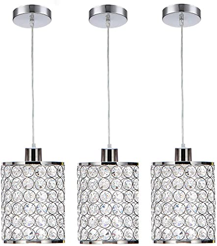 Cuaulans 3 Pack Modern Chrome Crystal Ceiling Pendant Lighting