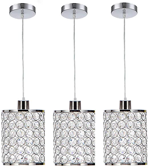 Cuaulans 3 Pack Modern Chrome Crystal Ceiling Pendant Lighting, Adjustable Pendant Light Fixture for Kitchen Dinning Room Bedroom