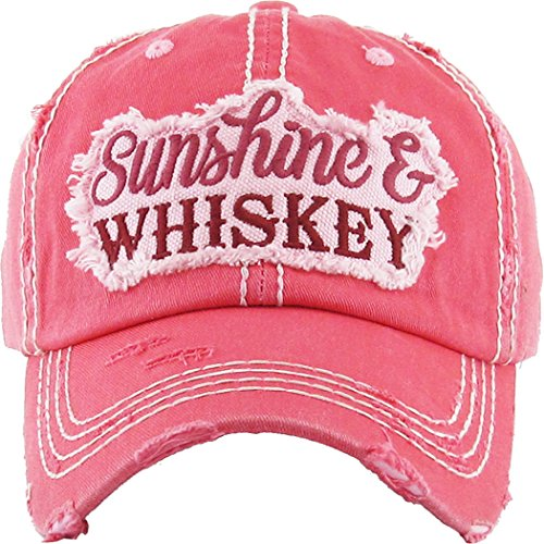 T-shirt Sunshine Day - H-212-WHISKEY52 Distressed Baseball Cap Dad Hat - Sunshine/Whiskey (Coral)