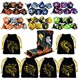 TOYFUL 6 Sets Double-Colors DND Dice Polyhedral Dungeons and Dragons DND RPG MTG Table Game Dice Bulk with Free Six Drawstring Bags and D&D Dice Tower Black