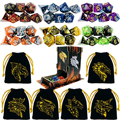 TOYFUL 6 Sets Double-Colors DND Dice Polyhedral Dungeons and Dragons DND RPG MTG Table Game Dice Bulk with Free Six Drawstring Bags and D&D Dice Tower Black by Toyful