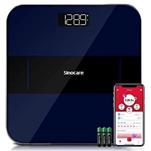 Sinocare Scales for Body Weight, Smart Digital Bathroom Weight Scales for Weight Loss with Wireless Bluetooth and Smartphone Apps, Easy-to-Read LED Display, Navy