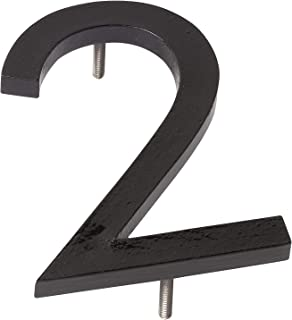 "product image for Montague Metal Products MHN-06-F-BK1-2 Solid Aluminum Modern Floating Address House Numbers, 6"", Powder Coated Black"