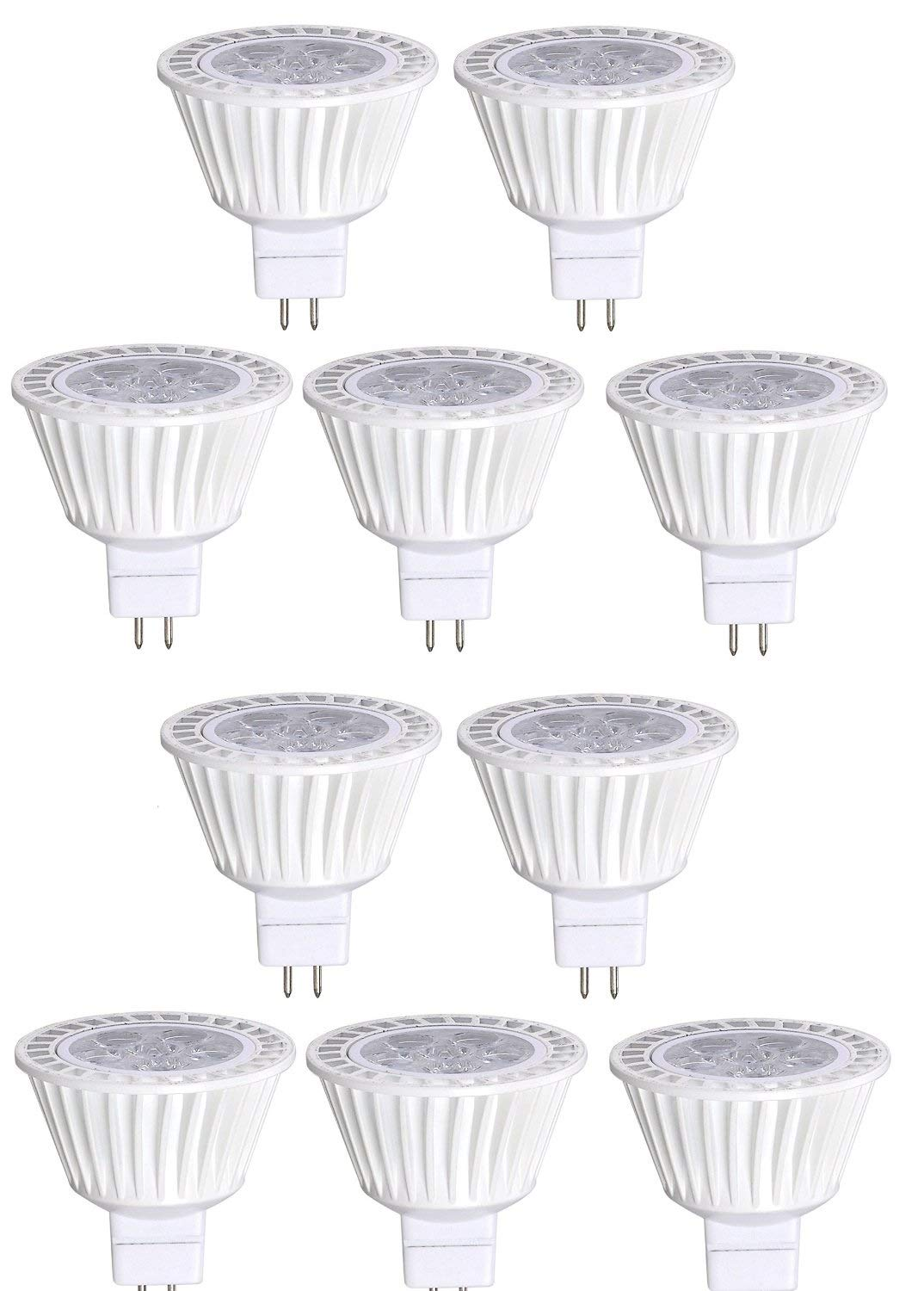 10 Pack Bioluz LED MR16 LED Bulb 50W Halogen Replacement Dimmable 7w 3000K 12v AC/DC UL Listed