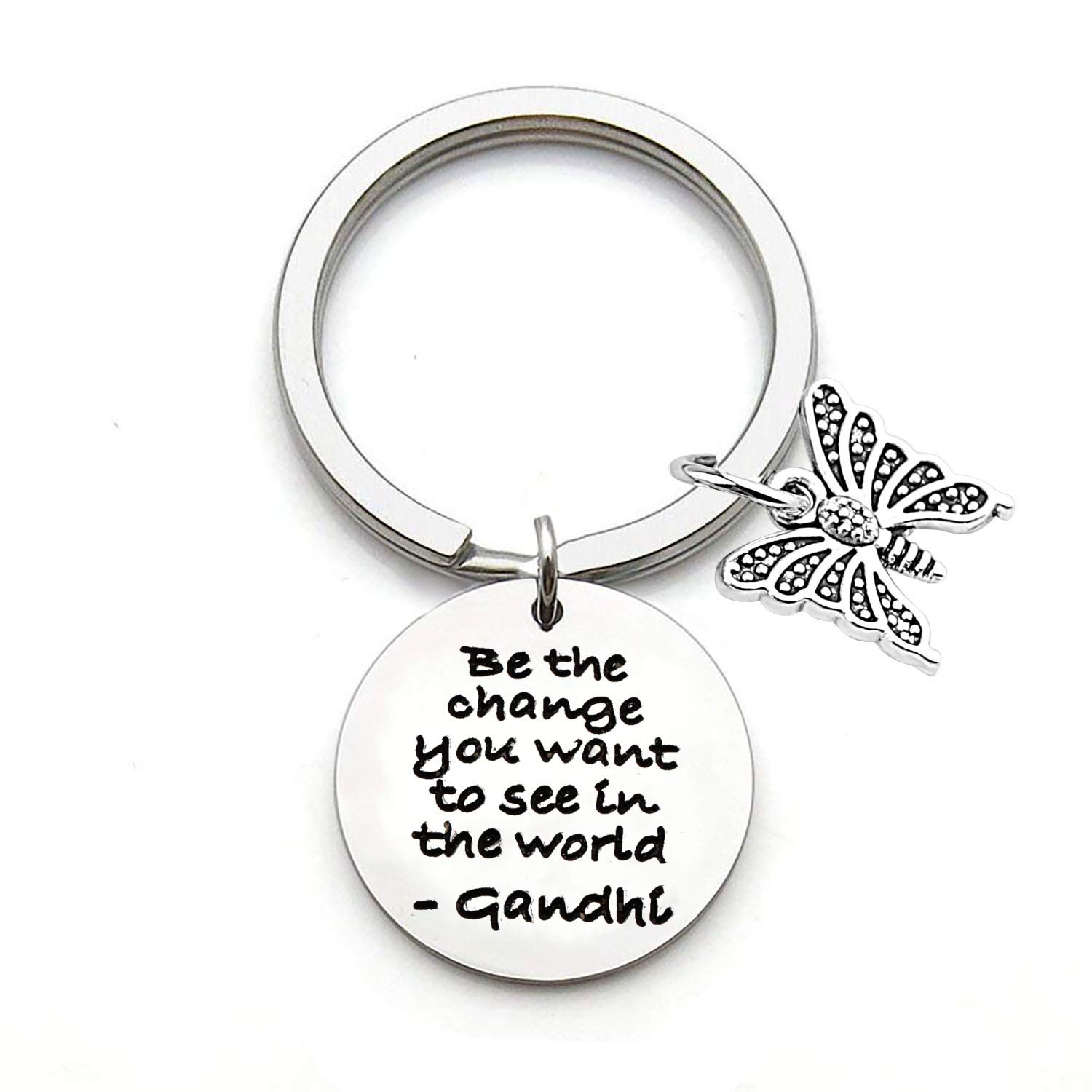 Inspirational Keychian Be The Change You Want to See in The World Ghandi Quote Key Chain Butterfly Charm Encouragement Gifts for Butterfly Lovers