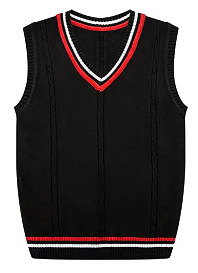 Cbtlvsn Mens Casual V Neck Cable Knit Sleeveless Sweater Vest At