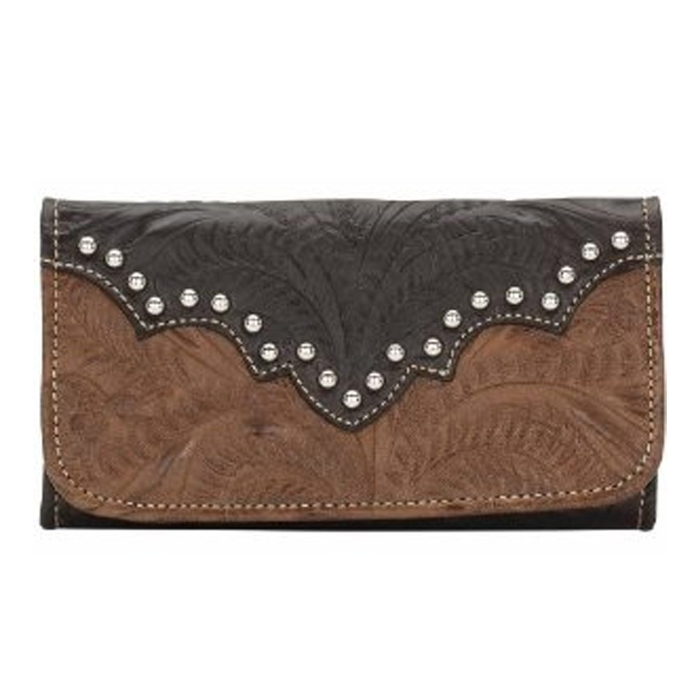 American West Women's Annie's Secret Tri-Fold Wallet Antique Brown One Size