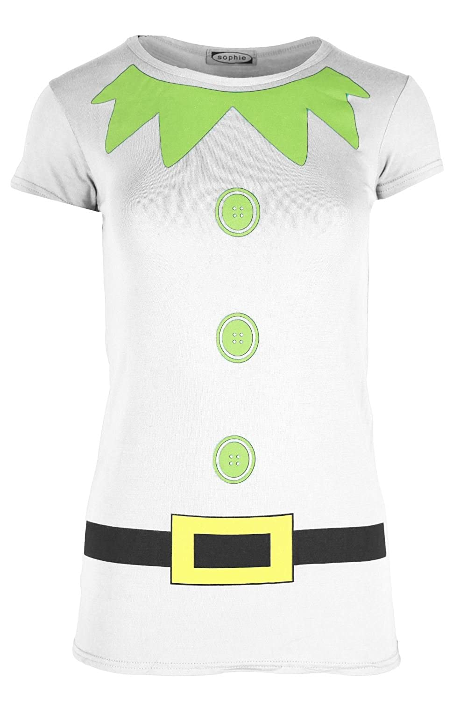 Womens Christmas T Shirt Ladies Elf Costume Xmas Cap Sleeve Jersey Dress Top BE JEALOUS