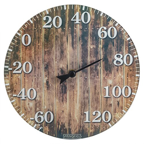 Springfield 98322 Barn Wood Glass (10-inch) Thermometer, Brown (Wall Decorative Thermometer)