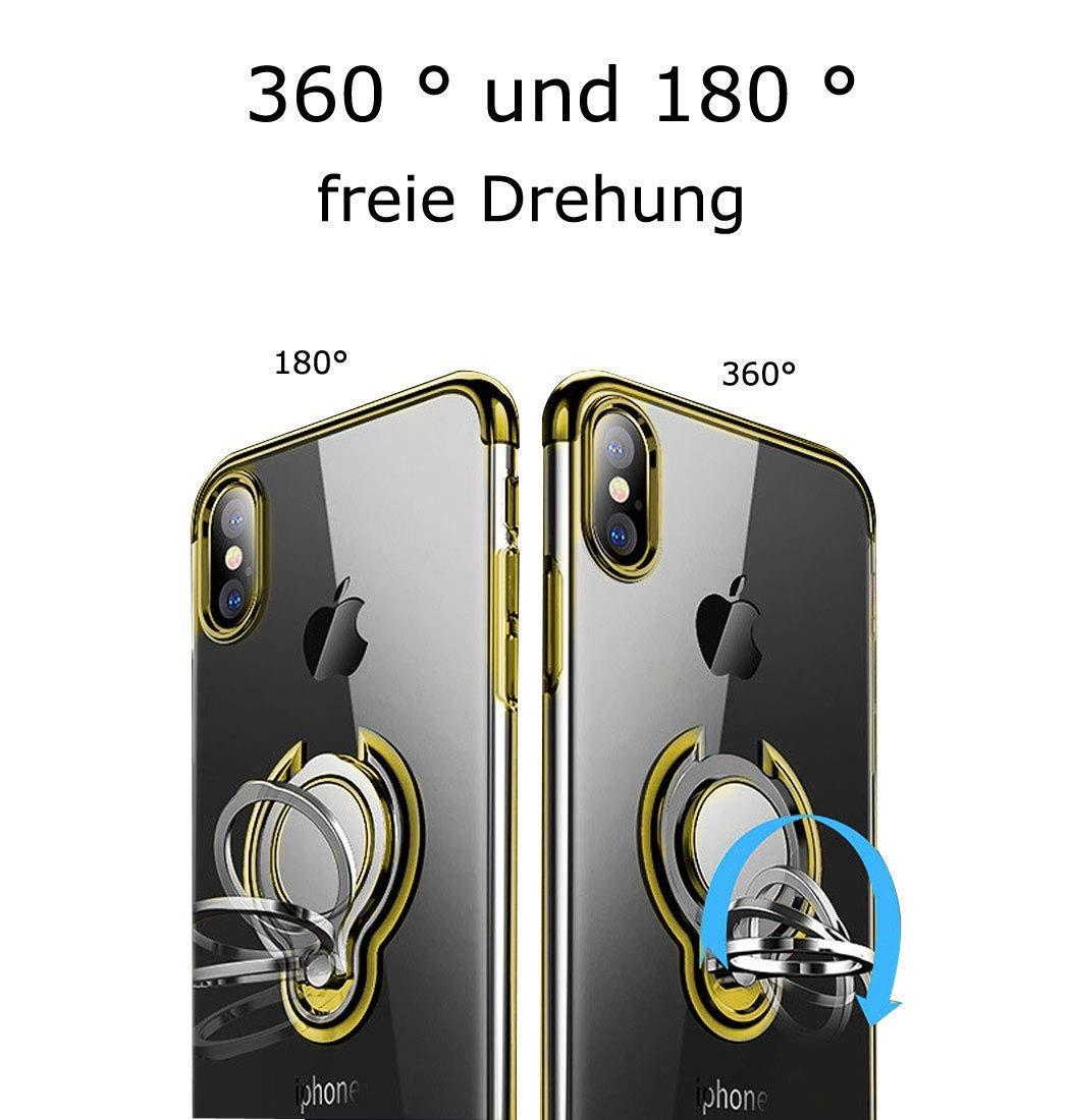 Caler H/ülle Kompatible Samsung Galaxy J3 2018 Handyh/ülle Soft Silikon H/ülle Ultra D/ünn TPU Bumper Case 360 Grad Ring Stand Magnetische KFZ-Halterung Autohalterung Schutzh/ülle f/ür Transparent