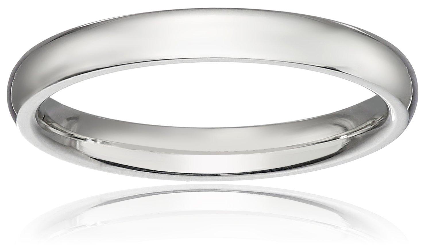 Standard Comfort-Fit Platinum Band, 3mm, Size 6.5