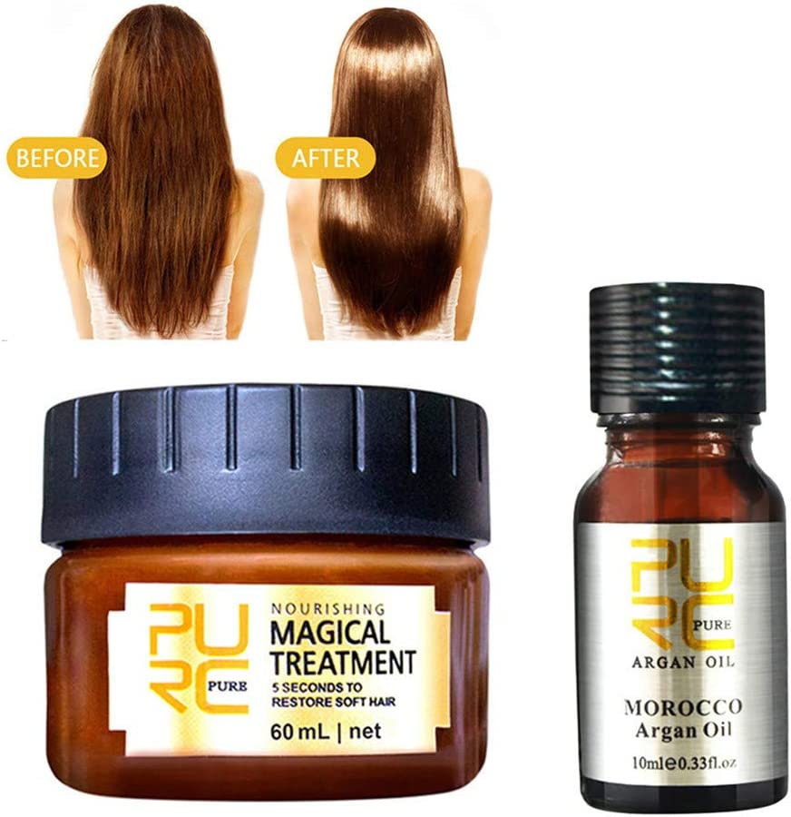 99AMZ Magical Treatment Mask Repairs Damage Restore Soft Hair 60ml + 10ml Acondicionador Serum for All Hair Types Keratin Hair & Scalp Mascarilla para el Pelo Profesionales para Dañado Cabello (2p