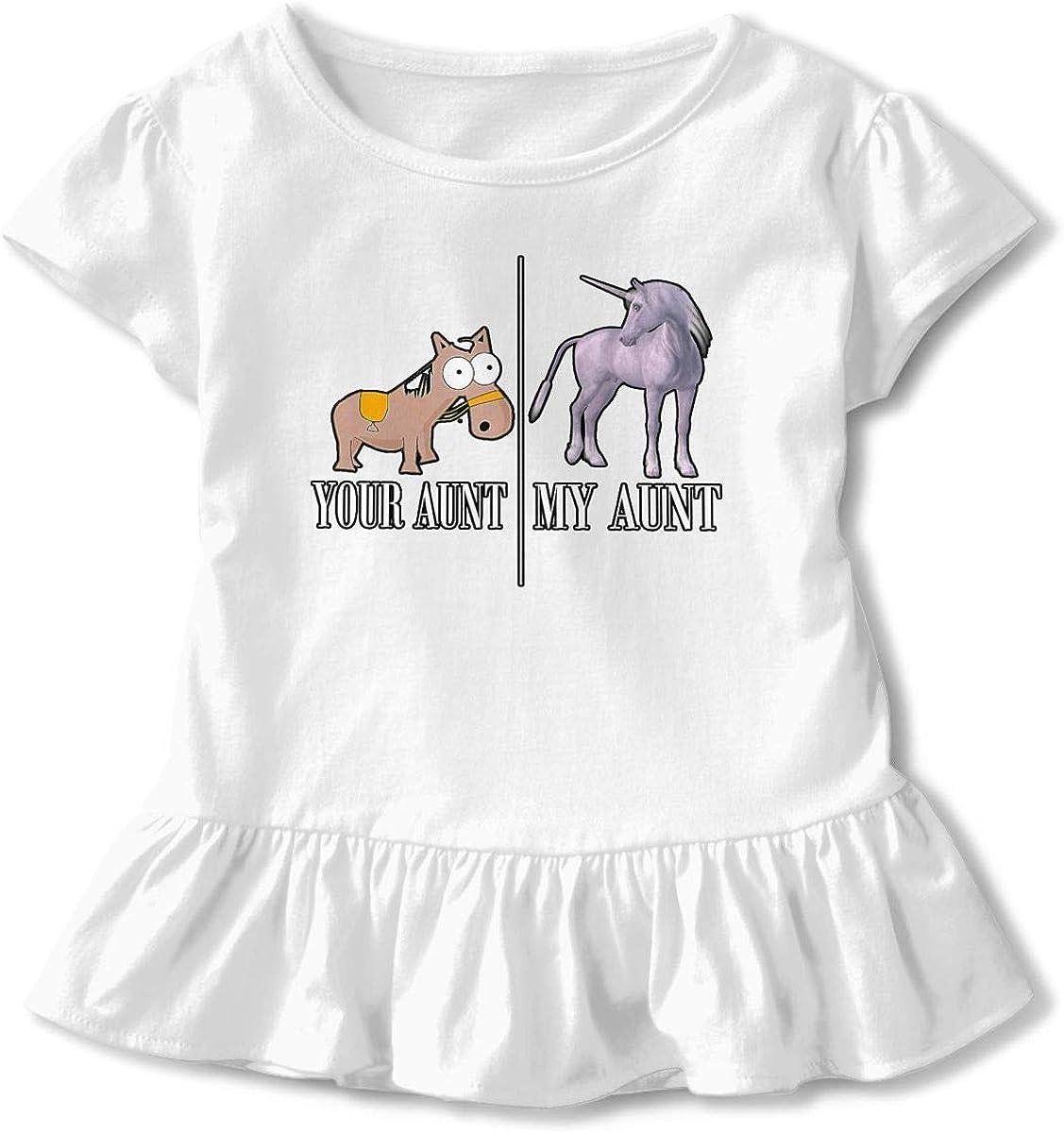 Unicorn Horse Your Aunt My Aunt Toddler Girls T Shirt Kids Cotton Short Sleeve Ruffle Tee