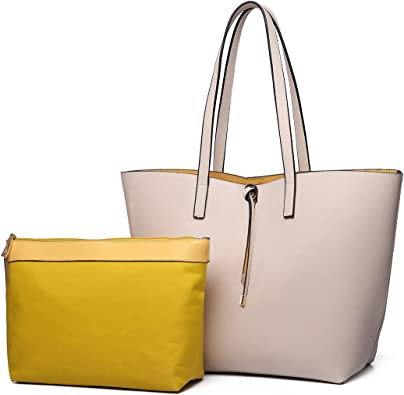 Womans Leather Tote Bag Overlapping Figure Soft Capacity Shoulder Handbag