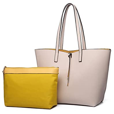 b9ac0c455554 Miss Lulu Women Reversible Tote Bag Faux Leather Shoulder Handbag Large  Shopper Set (Beige)