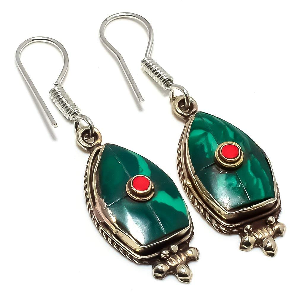 Handmade Jewellry Coral Silver Plated 6 Grams Earring 1.5 Green Malachite Nepali Work