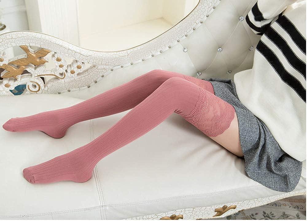 BOMING Calze da donna sopra il ginocchio orlo lungo calde antiscivolo invernali