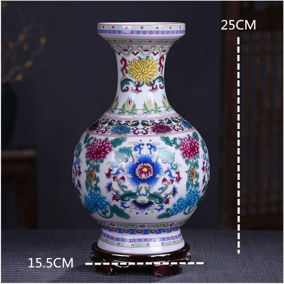 ZKPDX Esmalte De Porcelana Azul Y Blanca Noche Jarrón Rosa Claro Muebles para El Hogar Adornos De Sala De Estarbotella De Recompensa Estatuas