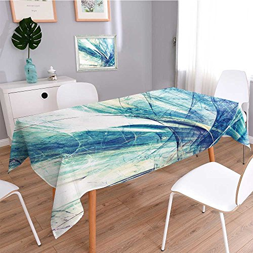 (UHOO2018 Machine Washable Tablecloth,Abstract Blue and White Motion Composition Modern Bright Futuristic Dynamic Background for for Dinner Parties, Summer & Outdoor Picnics)