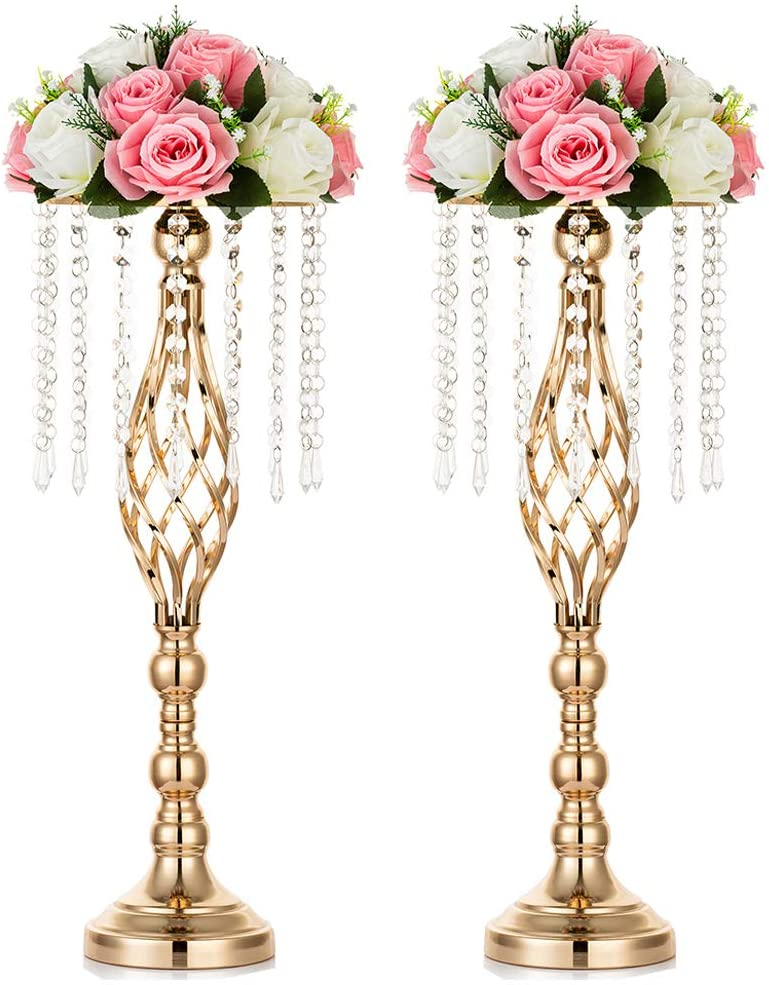 Nuptio 2 Pcs Crystal Flower Stand Wedding Centerpieces for Tables, 55cm Tall Elegant Metal Flower Arrangement Stand, Tabletop Metal Flower Vase for Wedding Party Dinner Event Hotel Home Decor