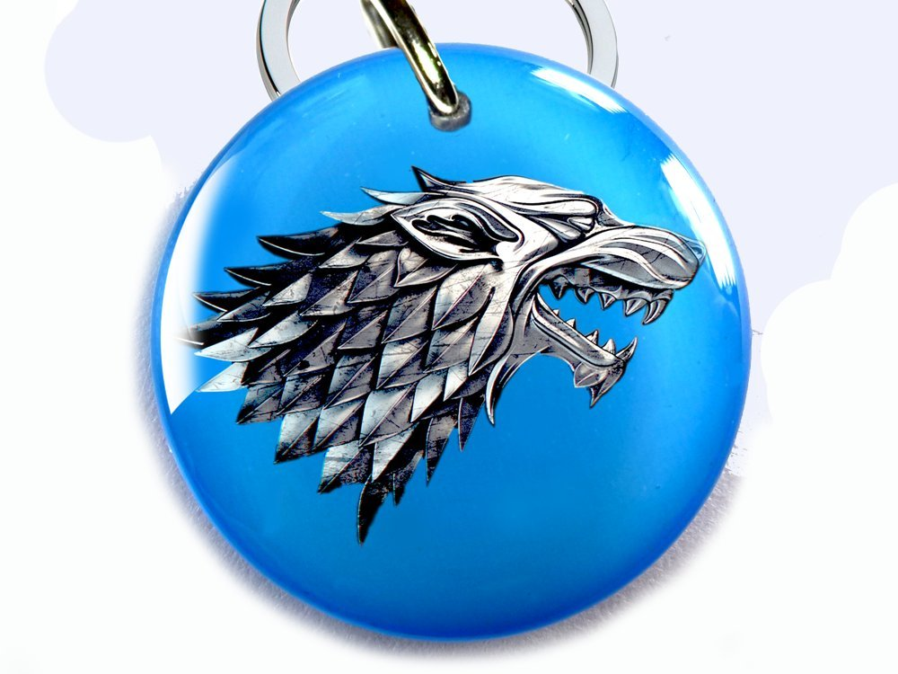 Game of Thrones Custom Pet ID TAG DOG TAG STARK WOLF (Medium 1 1/4'')
