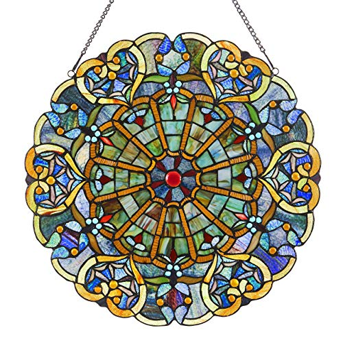 Victorian Style Stained Glass Panel: 23 Inch High Webbed Heart Decorative Window Hanging  Large Round Tiffany Style Blue Green Yellow amp Red Framed Hangings  Ornament for the Wall or Windows