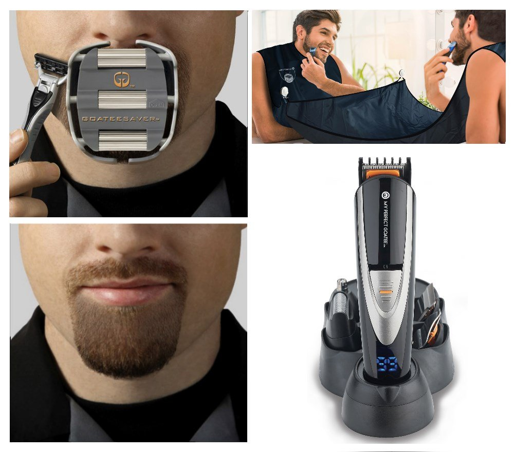 My Perfect Goatee, Men's Goatee Shaving Template, LED Beard Trimmer, and Beard Bib 3 Piece Shaving Kit