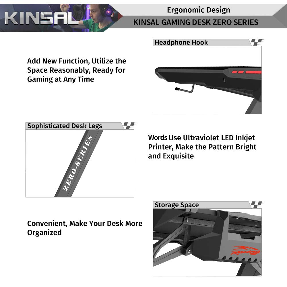Kinsal Z-Shaped Gaming Desk Computer Desk Table with Fighting RGB LED Ambience Lighting and Large Size Mousepad, Racing Table E-Sports Durable Ergonomic Comfortable PC Desk (RGB Lights) by Kinsal (Image #5)