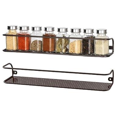 NEX Spice Racks Wall Mounted Spice Storage Brown- 2 Pack
