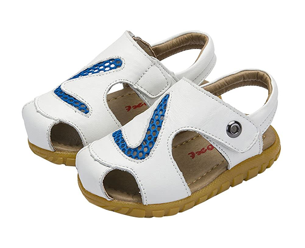 PANDA SUPERSTORE Hollow Out Boys Summer Leather Casual Beach Sandals White Feet Length 14.7CM