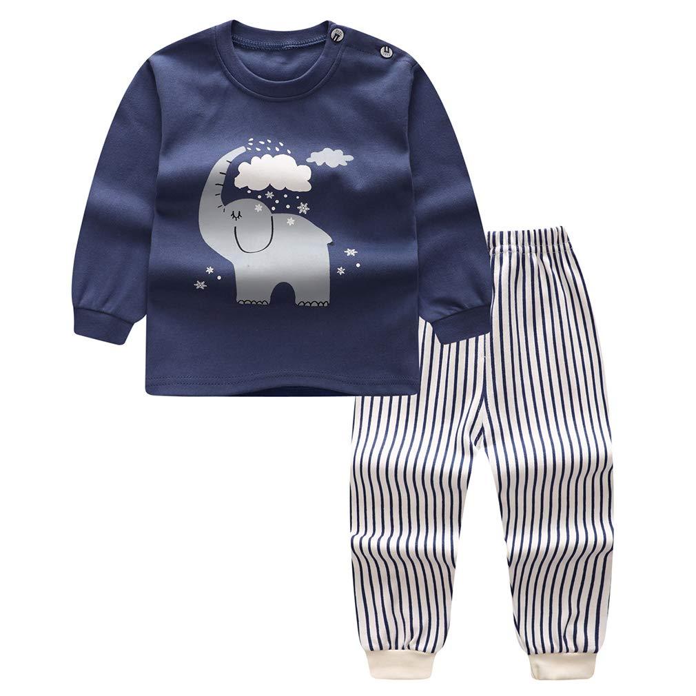 Meedot Pyjama Set f/ür Baby 2 St/ück Baumwolle Langarm Winter Warm Nachtw/äsche f/ür 0-5 Jahre alt Kinder
