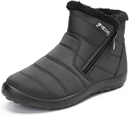 Women/'s Snow Boots Thick Fur Lined Waterproof Slip On Winter Warm Ankle Shoes US