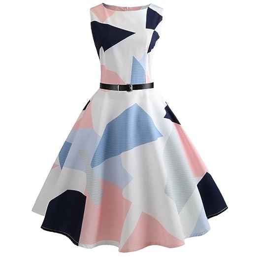24a0095b106 vmree Women Vintage 1950 s Audrey Hepburn Style Dress Geometric Print  Waisted Rockabilly Swing Sundress (White