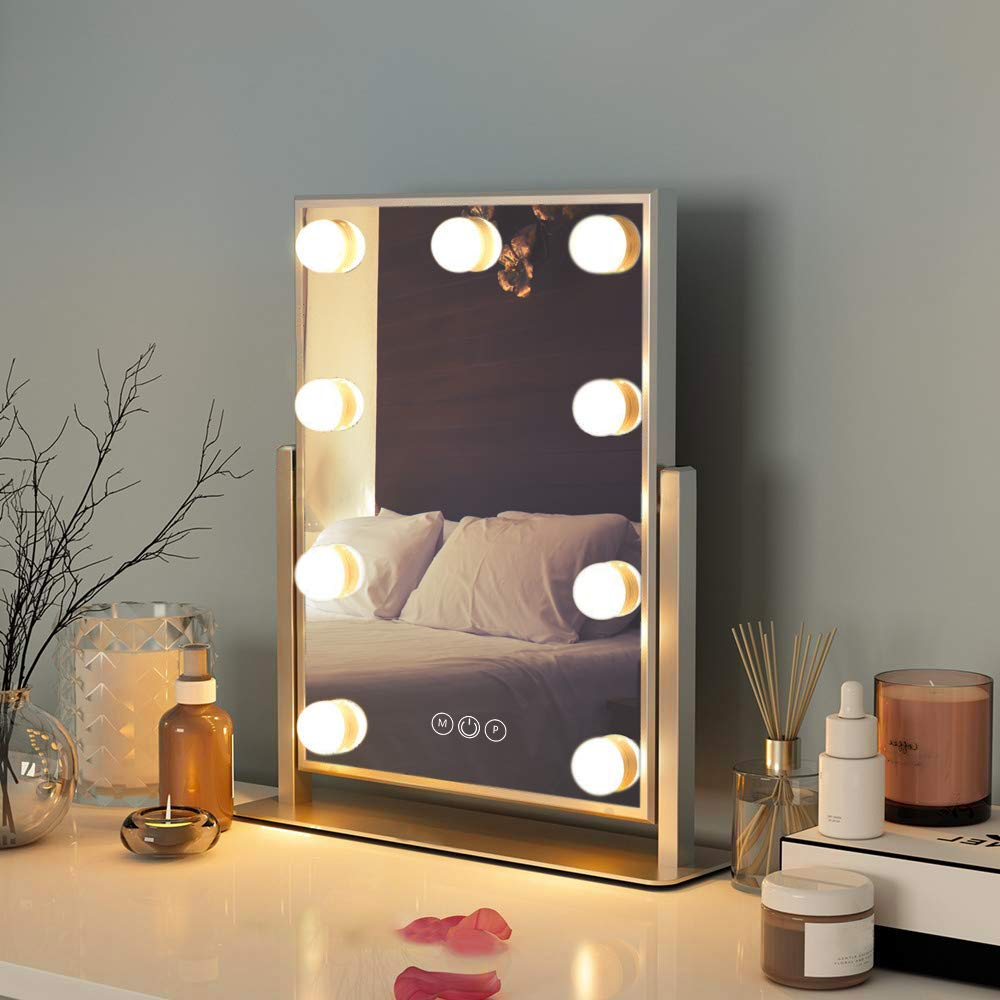 Amazon Com Fenchilin Hollywood Mirror With Light Large Lighted Makeup Mirror Vanity Makeup Mirror Smart Touch Control 3colors Dimable Light Detachable 10x Magnification 360 Rotation White Furniture Decor