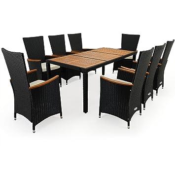 GroBartig Deuba® Poly Rattan Sitzgruppe 8+1 Schwarz | 7cm Dicke Sitzauflagen Creme | 8