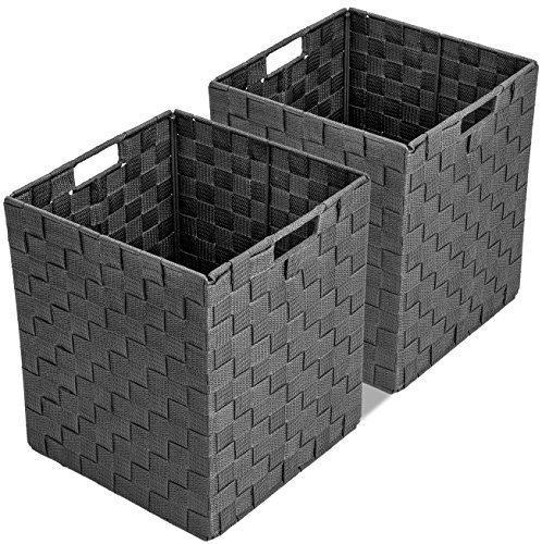 Sorbus Foldable Storage Cube Woven Basket Bin Set - Built-in Carry Handles - Great for Home Organization, Nursery, Playroom, Closet, Dorm, etc (Woven Basket Bin Cubes (Gray) (Bin Weave Storage)