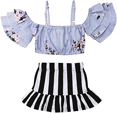 Infant Baby Girls Stripe Sleeveless Ruffle Tube Top Lace Romper Skirt Clothes Set