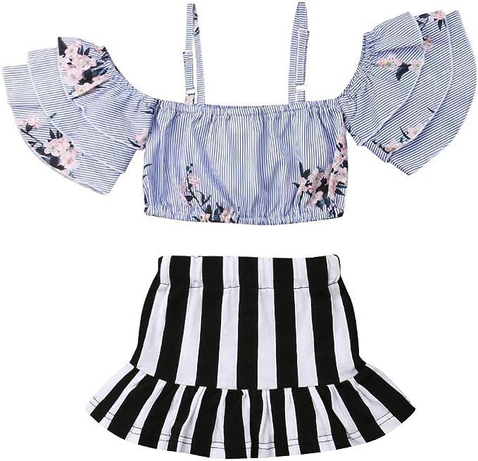 GorNorriss Children Vest Pants Set Sleeveless Lace Sling Floral Print Lace Top+Shorts Set