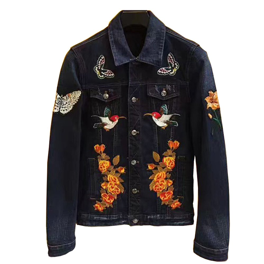 ECTIC New Men 100% Cotton Embroidered tiger Denim Jacket Casual Coats TB (Blue, XXL)