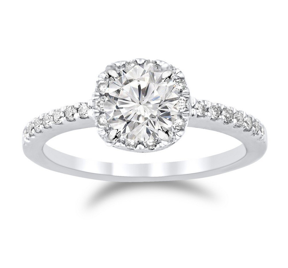 0.77 Ctw 14K White Gold GIA Certified Round Cut Classic Cushion Halo Diamond Engagement Ring, 0.5 Ct D-E I1 Center