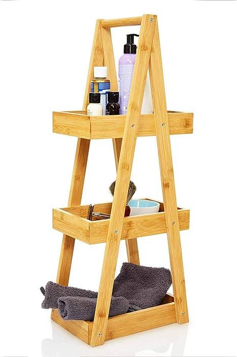 bambuswald© Estante para baño 66 x 26 x 18 cm - Hecho de bambú ecológico ǀ Estantería de 3 Niveles para Accesorios de baño - sólido y Decorativo ǀ ...