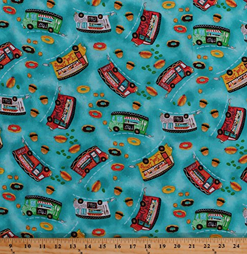 Cotton Food Trucks Donuts Doughnuts Hamburgers Burgers Barbecue BBQ Lunch Snacks Fast Food Concessions Vehicles Blue Cotton Fabric Print by The Yard (63376-1600715)